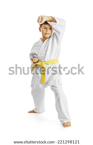 A karate kid posing, isolated on white - stock photo
