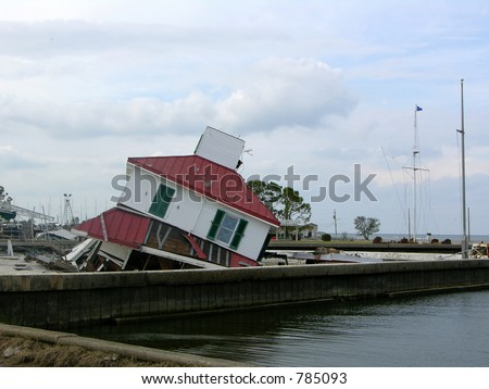 a Katrina-demolished lighthouse on the shore of Lake Pontchartrain, near the Causeway bridge - stock photo