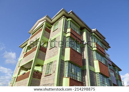 A Kenyan apartment building in Kikuyu near Nairobi, Kenya. - stock photo