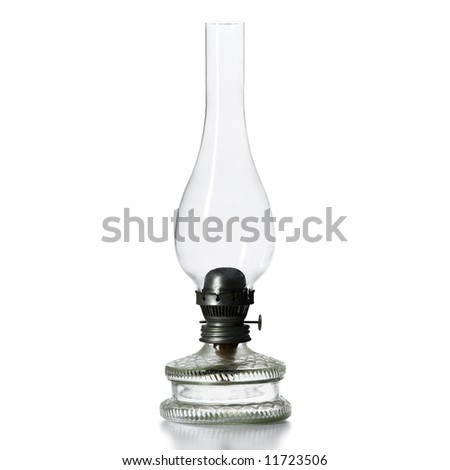 A kerosene lamp isolated on white - stock photo