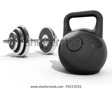 A Kettlebell and Dumbbell - stock photo