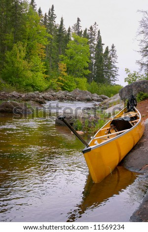 A kevlar canoe on horse river in the Boundry Canoe area of minnesota