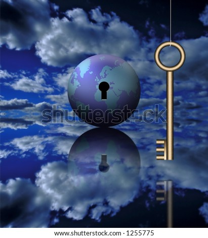 A key and the globe - stock photo