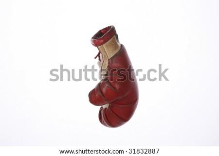 a key chain boxing glove on white - stock photo