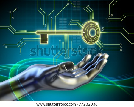 A key connected to some circuits and an android hand reaching for it. Digital illustration. - stock photo