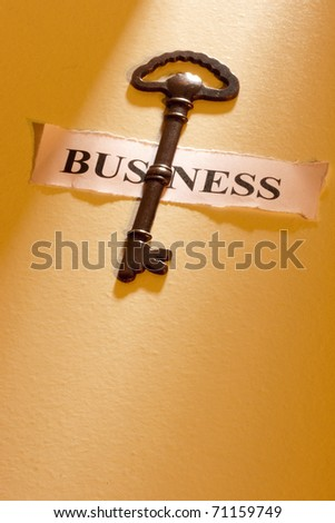 "A key laying on a piece of paper with the word ""business"" on it."