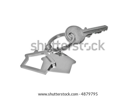 A key with a blank tag isolated on white. (with clipping path) - stock photo