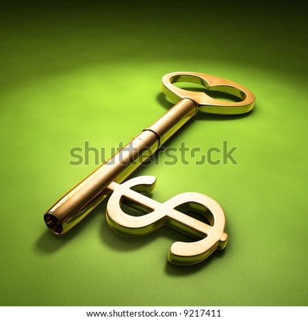 A key with a dollar-sign implemented on a green surface. - stock photo