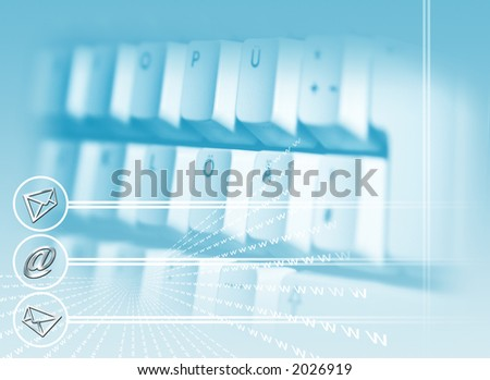 a keyboard on blue background with post and the symbol