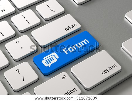 A keyboard with a blue button Forum - stock photo
