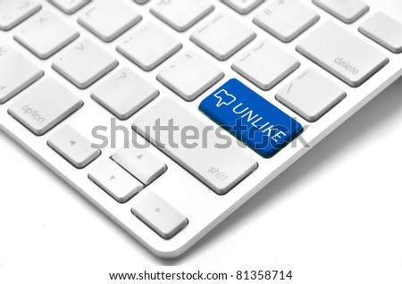 A keyboard with a blue key with the Thumb's unlike icon