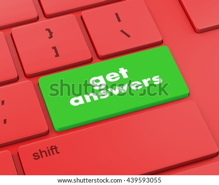 A keyboard with a key reading get answers, 3d rendering - stock photo