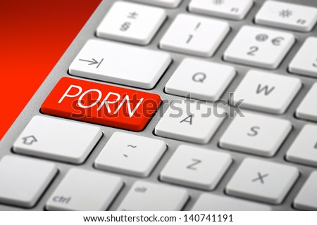 A Keyboard with a Porn Key - stock photo