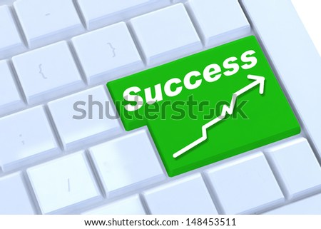 A keyboard with a success option with growing graph - stock photo