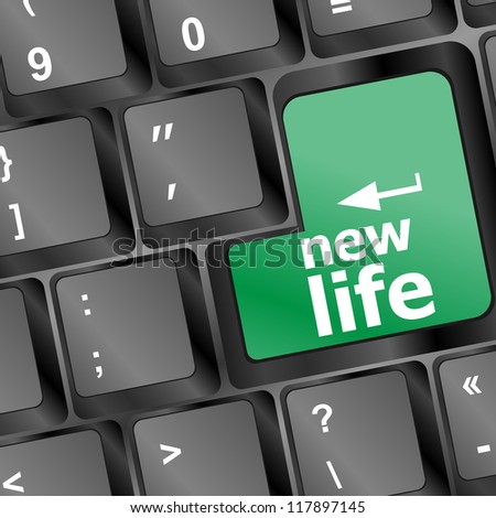 A keyboard with new life word - social concept, raster - stock photo