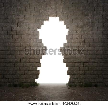 A keyhole shaped hole in a wall - stock photo
