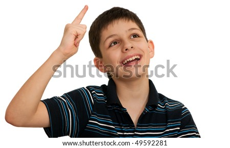A kid is holding his hand with his pointing finger up; isolated on the white background - stock photo