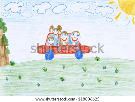 A kid's drawing - a father, a mother, a daughter, a son drive by car. It is made by my daughter. - stock photo