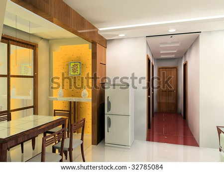 A kind of kitchen and corridor design