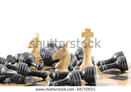 A king and his generals stand over all of the dead from the opposing side, concept. - stock photo