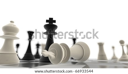 A king chess piece defeating another - stock photo
