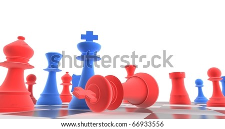 A king chess piece defeating another - blue + red - stock photo