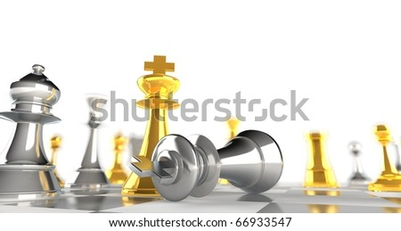 A king chess piece defeating another - gold + silver