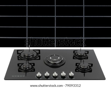 A  kitchen cook top on a kitchen bench - stock photo