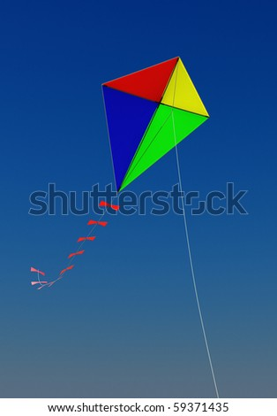 A kite flying in the blue sky