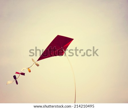 a kite toned with a retro vintage instagram filter effect  - stock photo