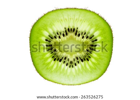 A Kiwifruit Slice Isolated on a White Background. - stock photo