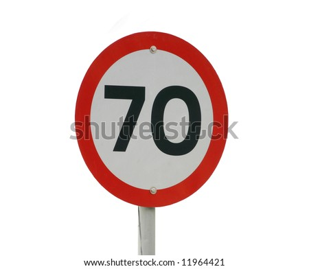 A 70km speed sign isolated on white