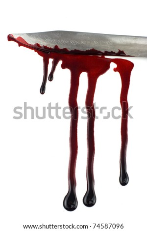 A knife smeared with blood - stock photo
