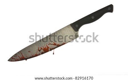 A knife smeared with blood isolated on white - stock photo