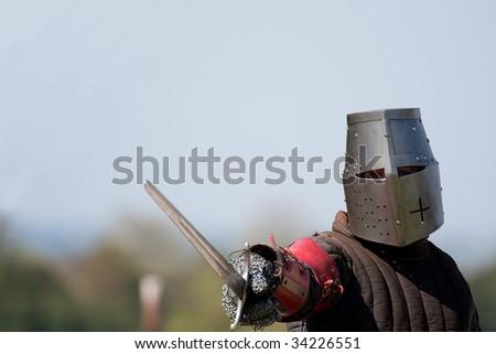 A knight ready to fight - stock photo