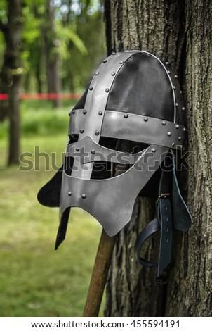 A knights helmet - stock photo