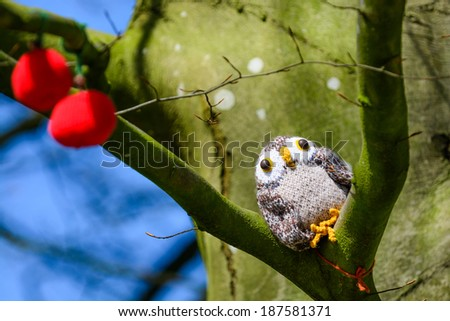 A knitted owl in a tree in the spring sunshine