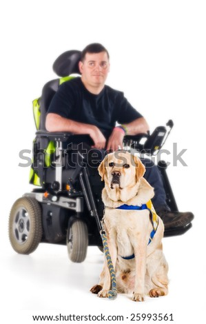 A labrador guide dog with his proud owner - stock photo