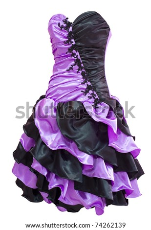 a ladies' violet and black cocktail dress with diagonal flounces, clipping path