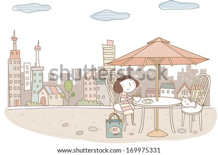 A lady holding a cup of hot beverage while sitting at an outdoor table with a cat.