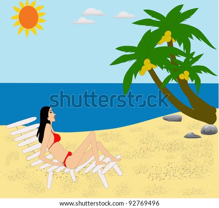 a lady lying under coconut tree