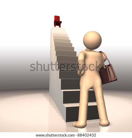 A lady represents the Career ambitions. This is a computer generated image. - stock photo