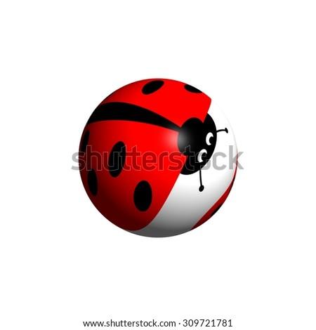 A ladybug globe looking down on white background. - stock photo