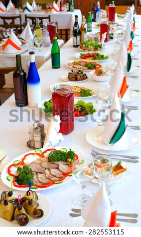 a laid banquet restaurant table, shallow DOF - stock photo