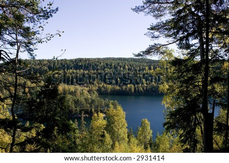 A lake in the middle of a forest.  Near Oslo, in the eastern forest - østmark, Nøklevann