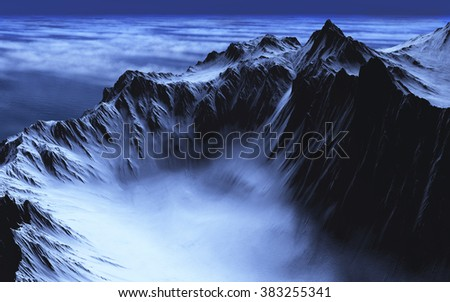 A lake of mist is nestled in the valley of some rugged mountains - 3d render. - stock photo