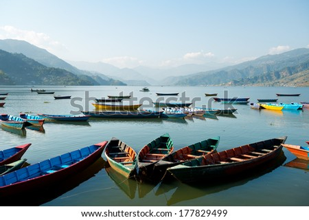 A lake scene in Pokhara, Nepal - stock photo