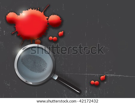 A landscape format illustration of blood spatters on a slate grey grunge style background, with a magnifying glass highlighting a finger print. - stock photo