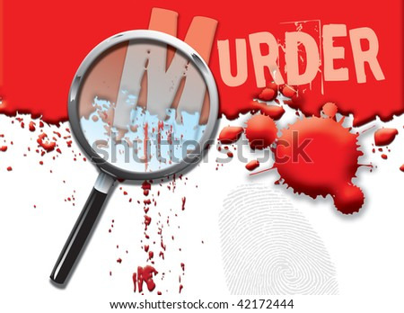 A landscape format illustration of blood spatters on a white background, with a magnifying glass highlighting the word murder. - stock photo