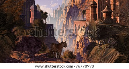 A landscape in India of a mountainous canyon with gothic castles, date palms and a Bengal tiger. - stock photo